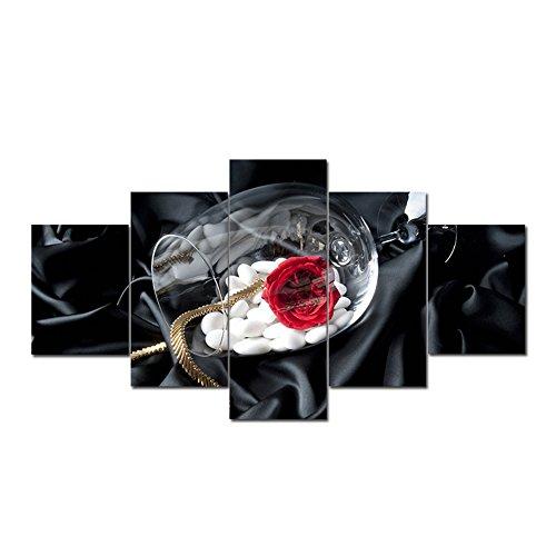 Rose da Parete Immagini,5 Pannelli Canvas Painting Wall Art Framed Quadro Moderno Stampato Wall Art Home Office Decorazione della Camera da Letto