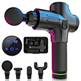 Massage Gun, 20 Speeds Adjustable Professional Handheld Deep Tissue Percussion Muscle Massager Quiet, 4 Heads Cordless Electric Massage Device for Pain Relief & Sports Relaxation (Black)