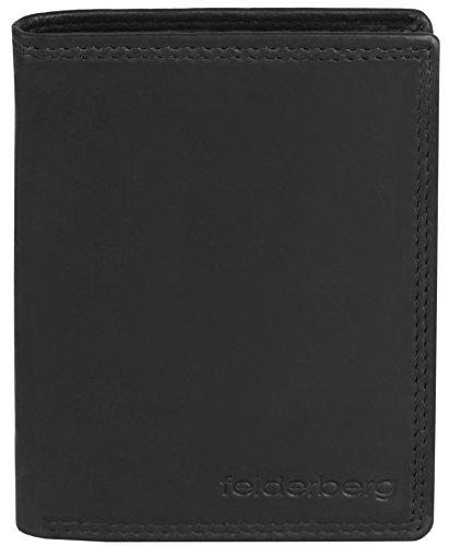 Ledergeldbörse mit viel Stauraum aus feinstem Kalbsleder, Modell 3726, Farbe:Schwarz