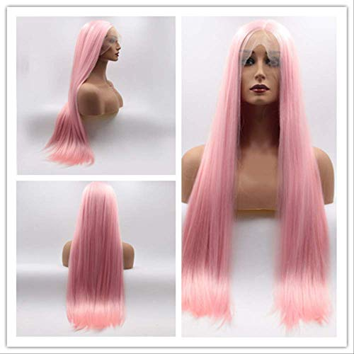 Chemical Fiber High Temperature Silk Wig Front Lace Pink Straight Hair Factory Direct Sales Cross-border Hot Selling Lace Wig 24 inches Pink