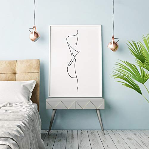 QAZEDC Impression d'art décoration Toile Peinture Femme Nue Corps Dessin au Trait Peinture sur Toile Noir Blanc Image Minimaliste Art Affiche Femme Figure Imprime décoration murale-60x80cm