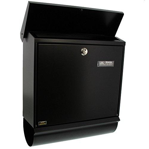 BURG-WÄCHTER, Briefkasten-Set mit integriertem Zeitungsfach, A4 Einwurf-Format, Verzinkter Stahl, Comfort-Set 91300 S, Schwarz - 3