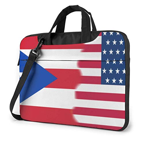 15.6″Lightweight Laptop Notebook Shoulder Backpack Bag US USA Puerto Rico Flag Waterproof PC Briefcase Messenger with Strap