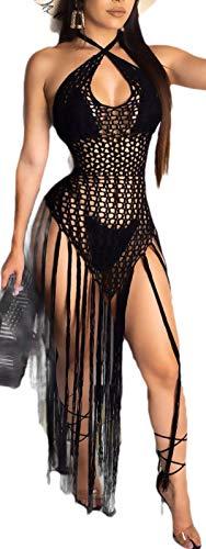 dahuo Damen Bikini mit Neckholder, gehäkelt, Quaste, modisches Strandkleid Gr. Small, Schwarz
