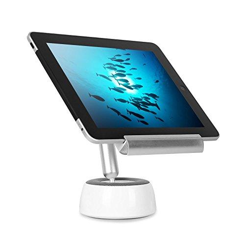 oneConcept - Shinepad, LED-Tischlampe, Tablet-Halterung, Hoch- und Querformat-Montage, für alle gängigen Tablets, Bluetooth Stereo-Lautsprecher, Licht-Intensität von bis zu 10000 Lumen, weiß