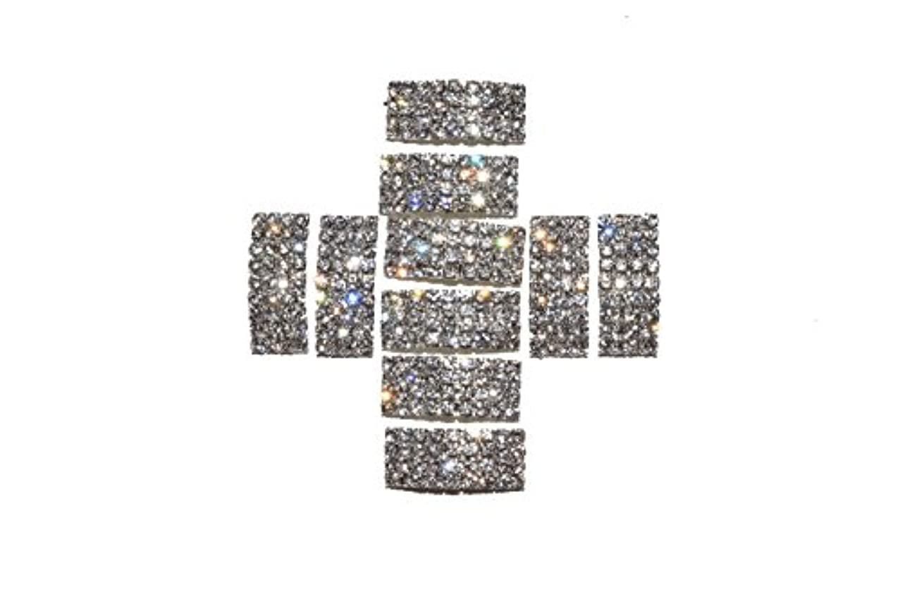 The Buckle Boutique 4 Row Arched Rhinestone Rectangle Buckle Slide (10 Pieces)