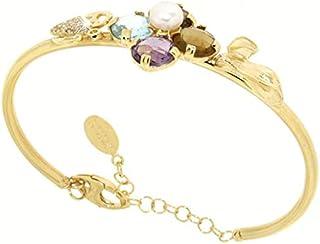Gabriela Rigamonti Jewels-Bracciale in Oro giallo 18kt con gemme naturali di topazio,quarzo fumè,ametista e perla naturale...