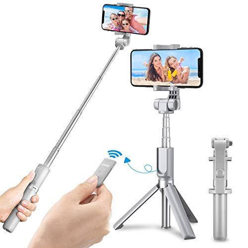 Mpow Selfie Stick con trípode, Bluetooth Selfie ajustable Monopié con trípode estable soporte, 360 ° giratorio para iPhone 11/X/8/Galaxy S20/S9