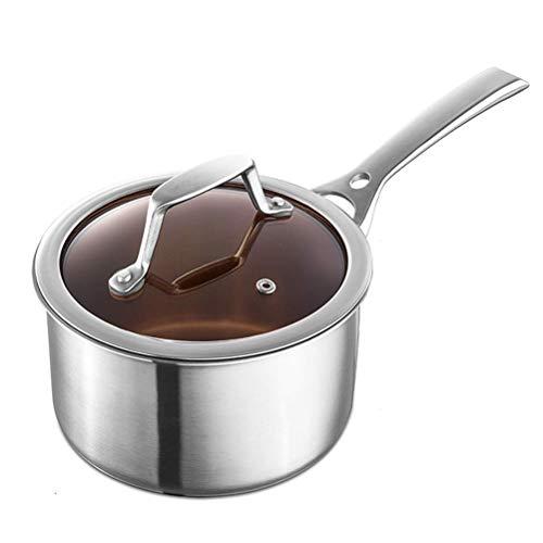 Cacerola de leche de metal Calentador de cacerola de acero inoxidable 7 pulgadas de utensilios de cocina con tapa, sopa gruesa, sin recubrimiento de peeling DAGUAI