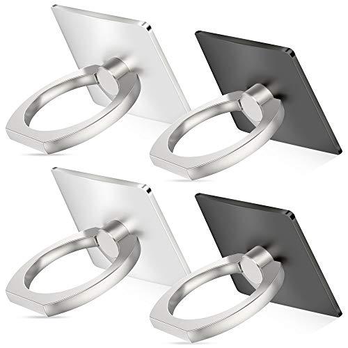 Senhai Handyhalter, 4-Pack Universal Smartphone Ring Grip Standplatz -Auto-Halterungen für iPhone, iPad, Samsung HTC Nokia Smartphones, Tablet (2 schwarz, 2 Silber)