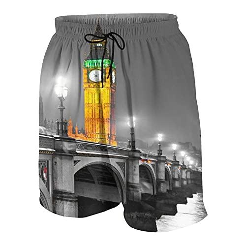 Herren Beiläufig Boardshorts,Der Big Ben, das House of Parliament und die Westminster Bridge bei Nacht, London, UK,Schnelltrocknend Badehose Strandkleidung Sportbekleidung mit Mesh-Futter