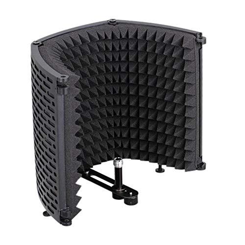 Moligin Micrófono de Sonido del micrófono Espuma Absorbente de Aislamiento del Escudo Protector de la Cubierta de plástico de insonorización insonoro Micrófono Pantalla Negro de Tres Puertas.