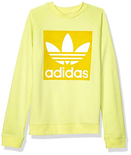 adidas Originals Women's Trefoil Crewneck Sweatshirt, ice yellow, Small