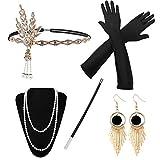 HG Power 1920 Accessories, Années 1920 Accessoires Gatsby Costume Set Bandeau Flapper, Charleston Accessoires Collier, Gants, Porte-Cigarette pour Femmes