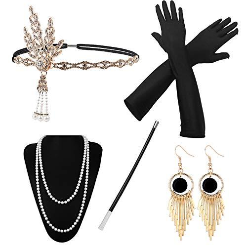 1920 Accessories, HG POWER Années 1920 Accessoires Gatsby Costume Set Bandeau Flapper, Charleston Accessoires Collier, Gants, Porte-cigarette pour Femmes Christmas