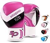 Starpro Niño T20 Guantes de Boxeo | Cuero PU | Azul Rosa y Blanco | para Entrenamiento y Sparring de jóvenes en Boxeo, Kickboxing, Fitness y boxercise | Niños 4oz 6oz