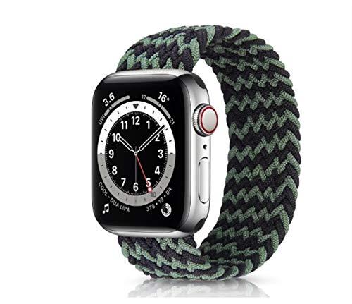 YGGFA Correa elástica de nailon para Apple Watch 6 Se Band para IWatch Serie 5 4 3 Correa trenzada Solo Loop 38 mm, 40 mm, 42 mm, 44 mm (color de la correa: negro verde, tamaño: 38 40 mm S)