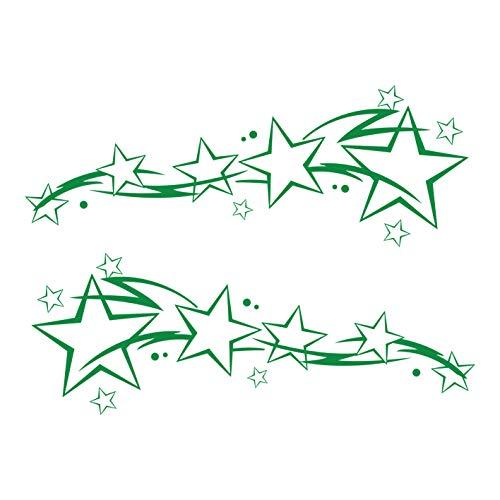 kleb-Drauf®   2 Sternenschweife   Grün - glänzend   Autoaufkleber Autosticker Decal Aufkleber Sticker   Auto Car Motorrad Fahrrad Roller Bike   Deko Tuning Stickerbomb Styling Wrapping