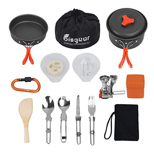Bisgear 16 Pcs Camping Cookware Stove Carabiner Bug Out Bag Cookset Folding Spork Set Outdoor Camping Hiking Backpacking Non-Stick Cooking Picnic Knife Spoon (Renewed)