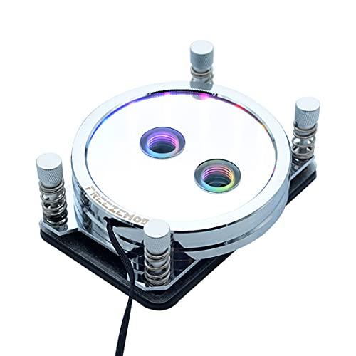 Xshion Bloque de agua para CPU PR-XPM compatible con AM2/AM3/AM4, bloque de refrigeración de agua para PC con cubierta acrílica y luz LED RGB