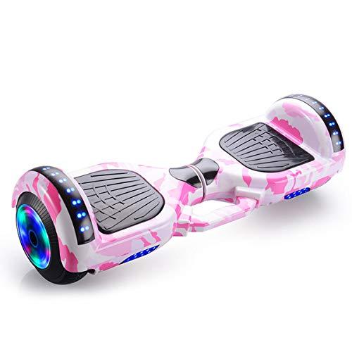 GEQWE Hoverboard Patinete Eléctrico 7 Pulgadas Se Agregó Un Sistema De Doble Balance Y Un Diseño Portátil Portátil con LED E-Skateboard Bluetooth+ Un Conjunto De Equipo De Protección,Rosado