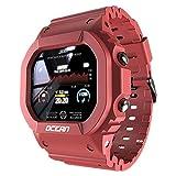 LOKMAT Ocean Smart Watch Herren Fitness Tracker Blutdruck Nachricht Push Pulsmesser Uhr Smartwatch Damen Für Android iOS (Wine Red)