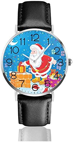SBLB - Reloj de pulsera de cuarzo con correa de cuero negro para mujer, hombre, niño y niña