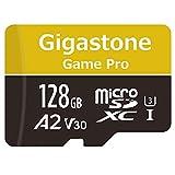 Gigastone Carte Mémoire Micro SD XC 128 Go + Adaptateur SD. Vitesse de Lecture allant jusqu'à 100 Mo/s et écriture de 50 Mo/s, Classe 10, U3 A2 V30. Performances applicatives A2.