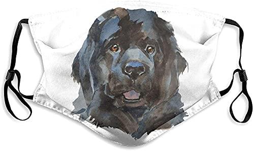 Máscara clásica de Terranova para perro con retrato a prueba de polvo, cómodo pasamontañas reutilizable lavable para hombres y mujeres al aire libre-Negro-S