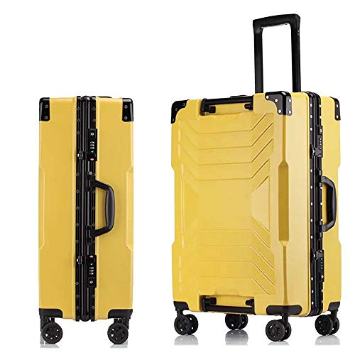 Trolley Suitcase,Fashionable Waterproof Anti-Theft Wear-Resistant Shock-Absorbing Suitcase,Suitable for, Family Vacation, Play, Travel,Yellow