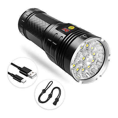 Semlos LED Taschenlampe, Superhelle 5000 Lumen CREE Wiederaufladbare Taktische Taschenlampen, Aufladbar Fackel für Camping Wandern und Notfälle (Inklusive Batteries)