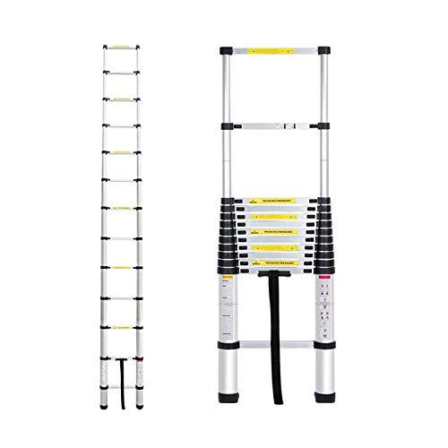 Mehrzweckleiter 3,8m Teleskopleiter Alu-Klappleiter Rutschfester Ausziehbare Robust Stehleiter 150 kg/330 Pfund Belastbarkeit