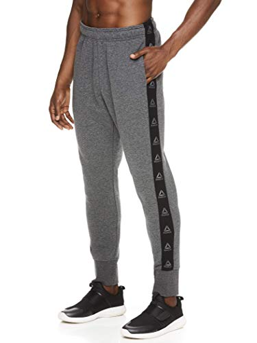Reebok Men's Jogger Running Pants with Pockets - Athletic Workout Training & Gym Sweatpants - No Breaks Logo Charcoal Grey Heather, X-Large