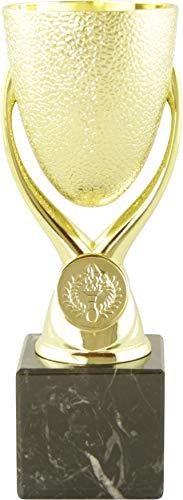 Mini Pokal Award Texas inkl. hochwertigen Alu-Gravurschild mit Wunschtext (Gold, 18 cm)