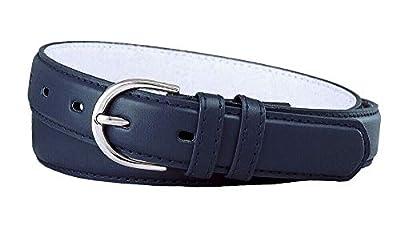 "188 Women's Belts Ladies Fashion Skinny Soft Dress Casual Leather Belt 1-1/8"" (30mm) wide (Navy, M)"