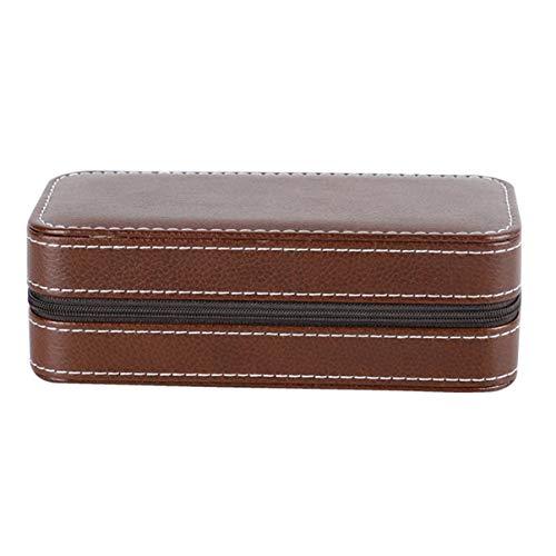 Monllack - Portagioie portatile da viaggio, per gioielli, ornamenti, orecchini, anelli, multifunzione, colore: marrone