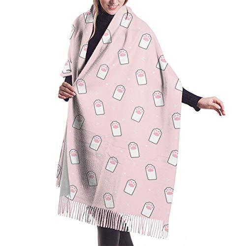 Bernice Winifred Lindo gato huella de la mano cómodo chal bufanda bufanda de invierno de cachemir para mujeres hombres-negro