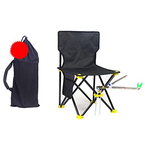 sbay Tumbona portátil de camping con bolsa de almacenamiento, color negro, ligera, plegable para exteriores, para pesca