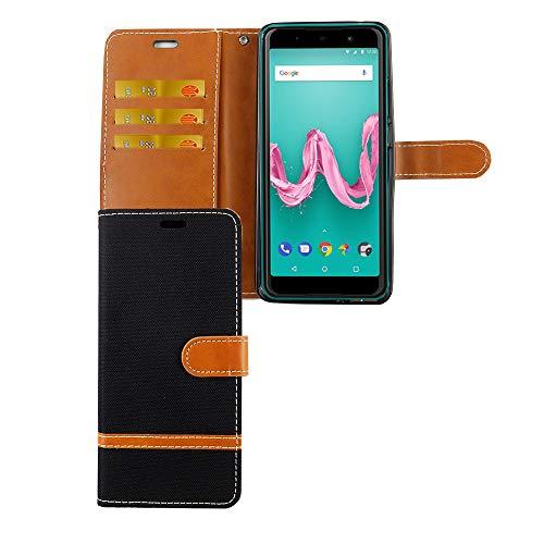 König Design Handy-Hülle Kompatibel mit Wiko Lenny 5 Schutz-Tasche Hülle Cover Kartenfach Etui Wallet Schwarz