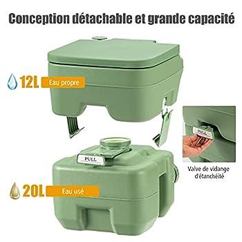 COSTWAY Toilette Portable WC Chimique Portable pour Camping Caravanes Hôpital, Toilette Chimique 20L HDPE (Vert)
