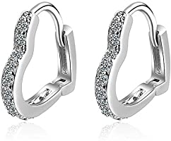 YooAi Huggie Hoop Earrings for Women Tiny Love Stud Earring Cubic Zirconia Cuff Earrings