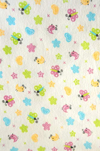 La Bortini Flanell Baumwolle L x B 100x160cm Flanellstoff Bettwäsche Babybekleidung Decke Meterware weiß mit Schmetterlinge