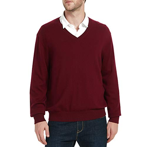 Kallspin Men's Cashmere Wool Blend Relaxed Fit V-Neck Sweater Pullover (XX-Large, Burgundy)