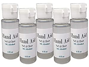5pk Hand Aid 70% Alcohol 1oz Travel Size Soft & Clean USA Made