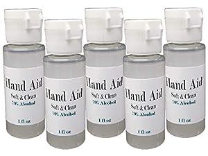 5pk Hand Aid 70% Alcohol 1oz Travel Size Soft & Clean USA Made