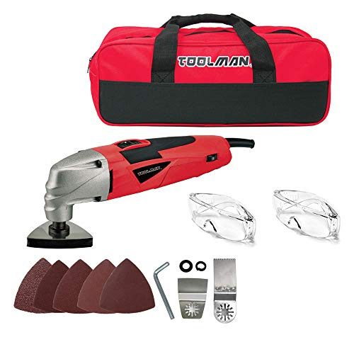 Lowest Prices! Toolman 2.1A 5 Variable speed Multi-Purpose Oscillating Tool 14pcs with sanding paper...