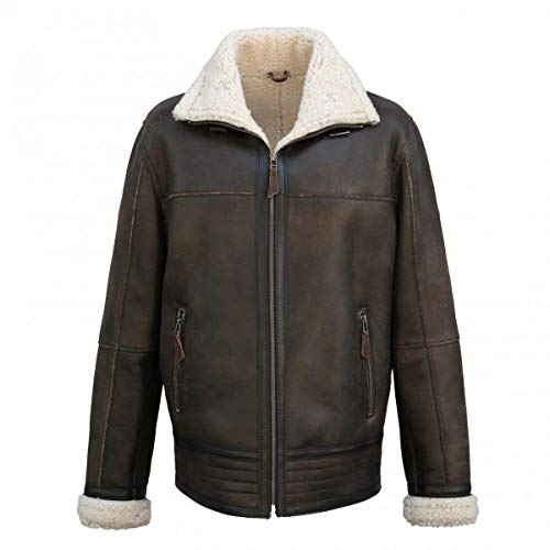 Hollert German Leather Fashion Lammfelljacke - Boris Herren Jacke Felljacke Pilotenjacke Lederjacke Antik braun Size XL