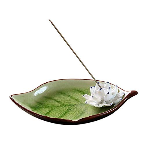 Corciosy Incense Stick Burner Holder-Ceramic Decorative Lotus Incense Burner Leaf -Incense Ash Catcher Tray Green