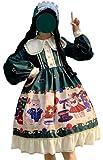 [レディレイジー] Lady Lazy ロリータ 長袖 ドレス ワンピース スカート 衣装 撮影 甘ロリ ハイウエスト レース フリル 姫 コスプレ アニメ 森ガール 女装 服 cosplay lolita ゴシック 原宿 かわいい ブラウス お嬢様 襟 蝶結び リボン テディベア くま 柄 (モスグリーン, M)