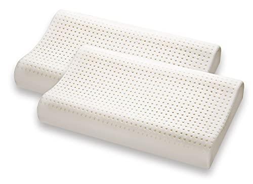 Marcapiuma - Pack de 2 Almohadas Viscoelásticas Memory Foam 70 cm Modelo Ondulado perforado con funda 100% ALGODÓN - Almohada Cervical Ortopédica - PRODUCTO SANITARIO CE - 100% Fabricadas en Italia